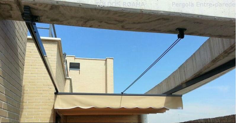 Toldos p rgola para terrazas toldos roama tel 91 477 18 00 for Anclajes para toldos